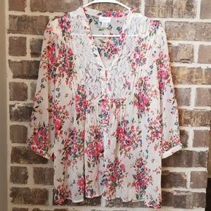 Motherhood Maternity Semi-Sheer Floral Top